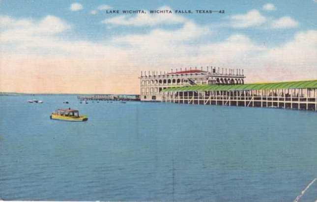 Linen postcard of the pavilion at Lake Wichita, circa 1930s-40s.